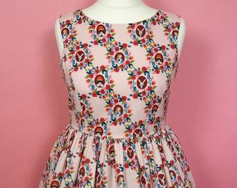 Wonderland Dress - Made To Order Alice In Wonderland Picnic Dress (Rose Pink Cameo) - Vintage Style Dress - Fit & Flare Dress - Rifle Paper