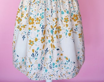 Floral Heart Border Print Dress (Calm) - Made To Order Floral Heart Border Sundae Picnic Dress - Vintage Style Dress - Fit & Flare Dress