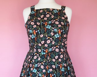 Paradise Garden Dress - Made To Order Paradise Garden Riviera Dress (Black) - Parrot and Toucan Dress - Fit & Flare Dress - Rifle Paper Co