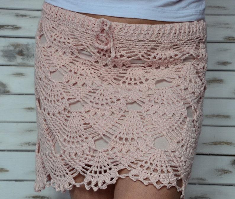 8b6e6fcbb9 Crochet skirt lace beach skirt short pink skirt boho beach | Etsy