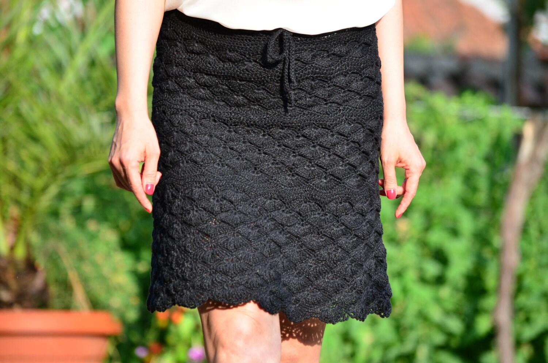 Black crochet skirt crochet lace skirt mini black skirt | Etsy