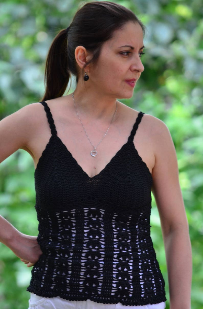 d5305b8401 Black Crochet top boho summer top women lace tank top | Etsy