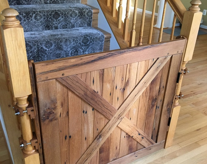 Dog Gate, Baby Gate, Pet Gate, Stair Gate, Solid Reclaimed Oak