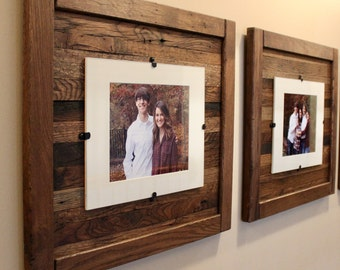 wood picture frames. Reclaimed Wood Frames, Rustic Set Of 2, 5 X 7 Picture Frame  With Mat, 8 10 Picture Frame Without Mat, Free Shipping! Wood Frames P