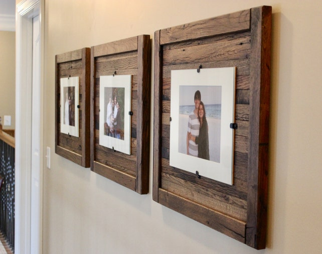 Rustic Wood Frames Reclaimed Wood Frame Set Of 3 5 X 7 Etsy