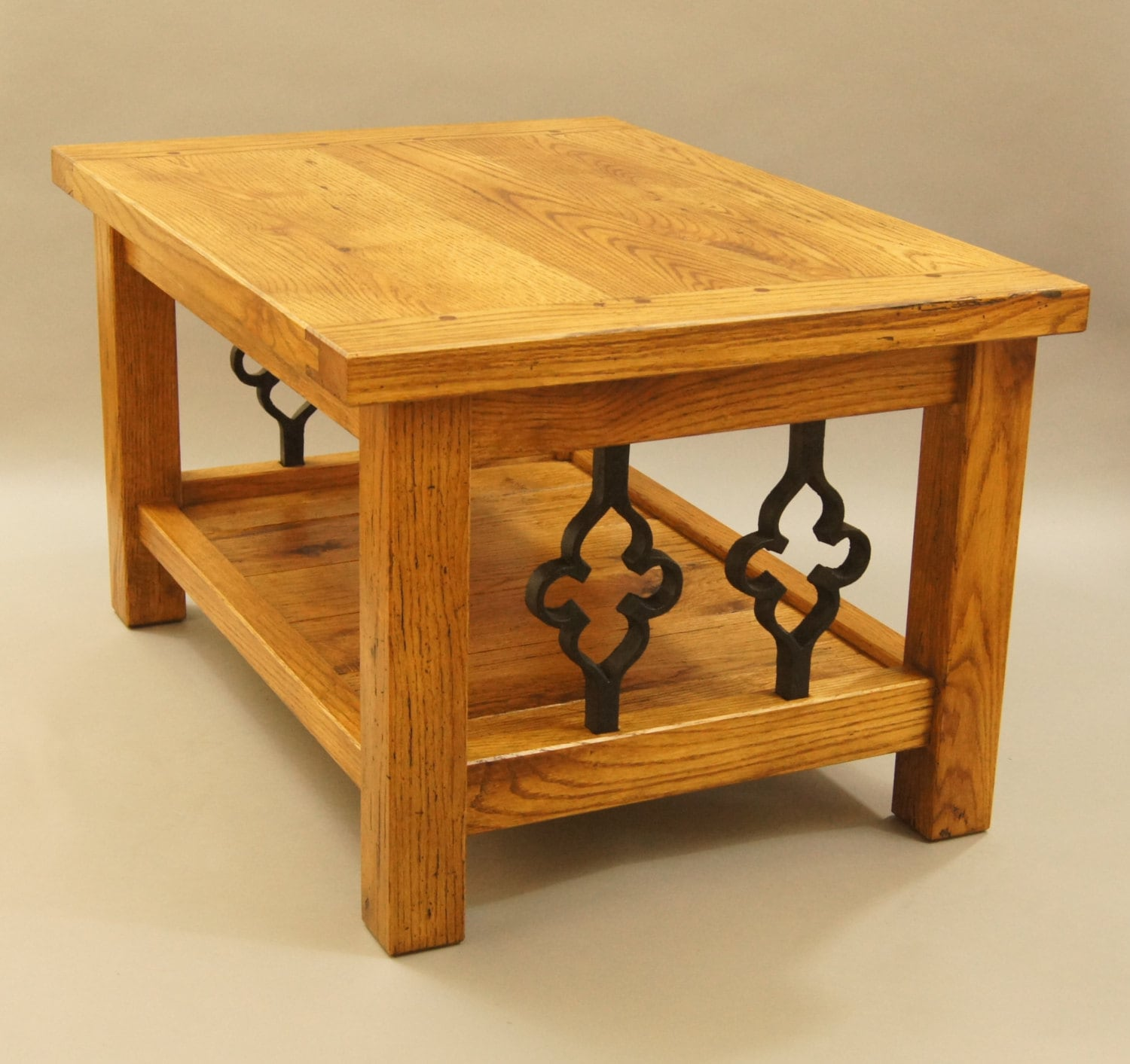 49 Coffee Table Nickel Finish Solid Iron Casters: Coffee Table Made With Solid, Reclaimed Oak And Gothic
