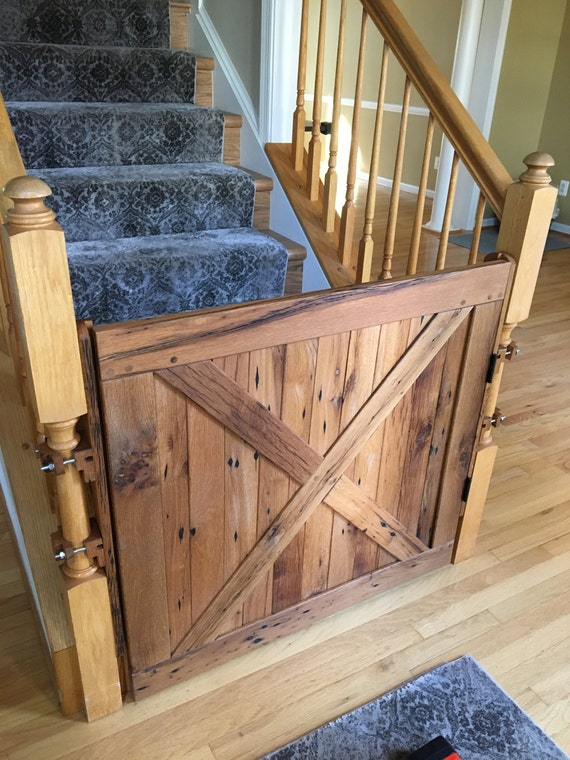 Dog Gate Baby Gate Pet Gate Stair Gate Solid Reclaimed Oak Etsy
