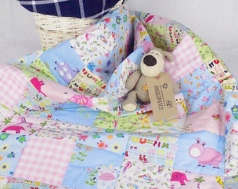 Animal Baby Blanket, Baby Quilt Handmade, Patchwork Baby Quilt, Baby Girl Quilt, Pastel Pink Blue, Cot Quilt, Crib Quilt, Girl Nursery Quilt