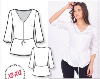 Peplum Top Pattern - V-neck Sewing Pattern - Sewing Patterns - Blouse Patterns - Sewing Tutorial - Women Sewing Pattern - Easy Patterns