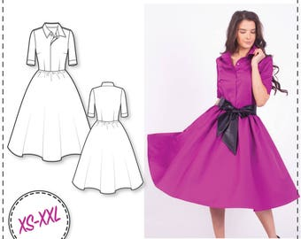 Shirt Dress Pattern - Sewing Patterns - Circle Skirt Dress Pattern - Dress Sewing Pattern - Sewing Tutorial - Fashion Patterns - Sew Pattern