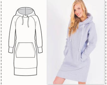 Sweatshirt Dress Sewing Pattern - Knit Dress Pattern - Hoodie Dress Pattern - Sewing Tutorial - Hoodie Sewing Pattern - Fashion Pattern