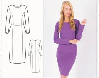 Long Sleeve Dress Pattern - Formal Dress Patterns - Simple Dress Pattern - Sewing Tutorial - Knit Dress Pattern - Dress Sewing Patterns