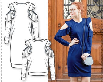 Open Shoulder Dress pattern - Off Shoulder Dress Pattern - Sweatshirt Sewing Pattern - Womens Sewing Patterns - Sewing Patterns - Tutorial