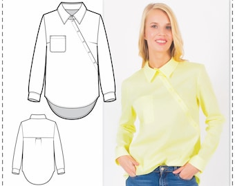 Shirt Pattern - Sewing Patterns - Designer Blouse Pattern - Blouse Sewing Pattern - Top Patterns - Indie Patterns - Sewing Tutorials