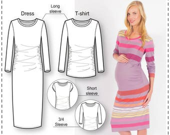Maternity Top Patterns - Maternity Sewing Patterns - Pregnancy Dress Patterns - T-shirt Dress Sewing Pattern - Sewing Tutorial