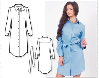 Sewing Patterns - Shirt Dress Pattern - Dress Patterns For Women - Long Sleeve Dress Pattern - Sewing Tutorial - Sew Pattern - Sewing Dress