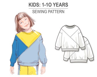 Color blocked sweatshirt with long sleeve and round neckline - PDF sewing pattern for girls and boys - age 1-10 years