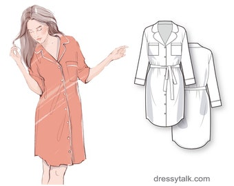 Button-down nightgown robe with cuffed long sleeve and optional belt - PDF sewing pattern for women