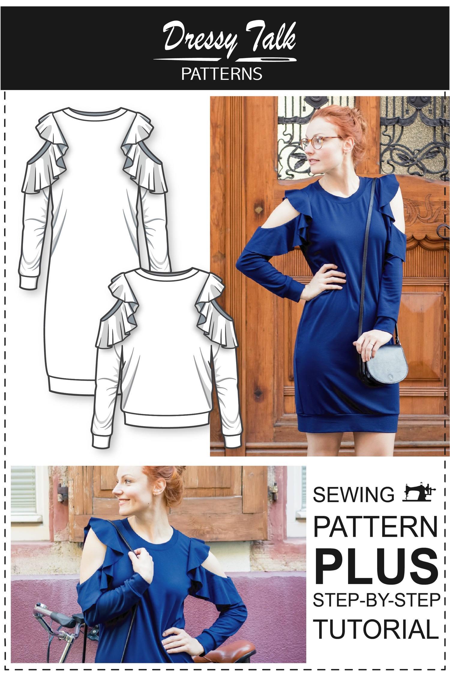76ef7fdf1dc4ab Open Shoulder Dress pattern Off Shoulder Dress Pattern   Etsy