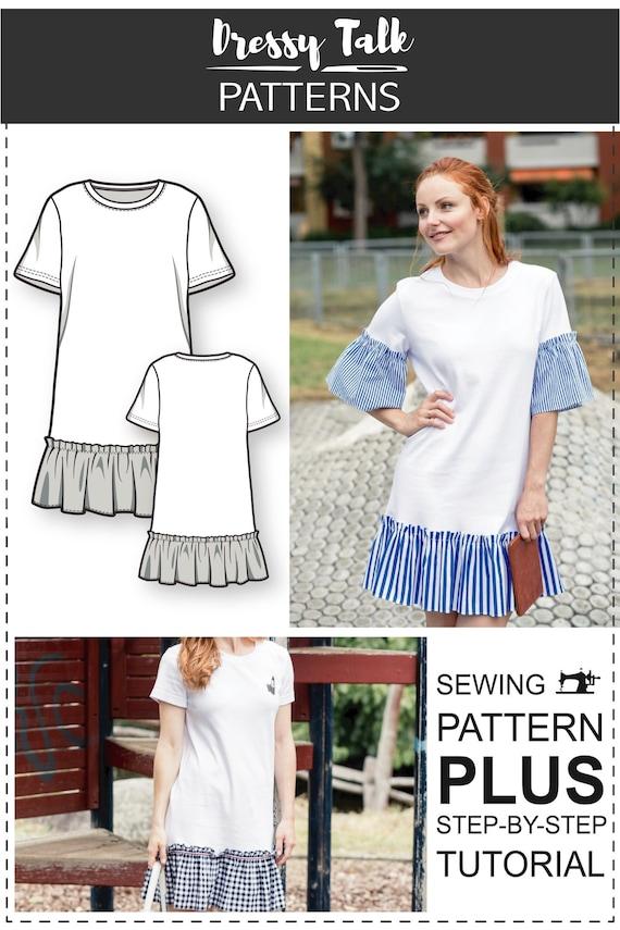 T-Shirt Dress Pattern Sewing Patterns Knit Dress Pattern | Etsy