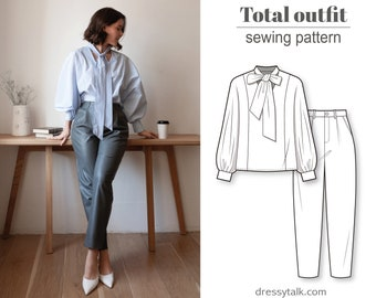 2 in 1 - Save 20% - High waist baggy pants and puff gathered long sleeve oversize woven shirt blouse - PDF sewing pattern for women
