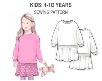 Dress with long sleeve sweatshirt top and gathered skirt - PDF sewing pattern for girls and baby girls - age 1-10 years