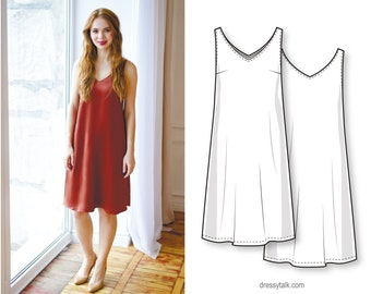 Simple silk slip A-line midi dress for beginners - PDF sewing pattern for women