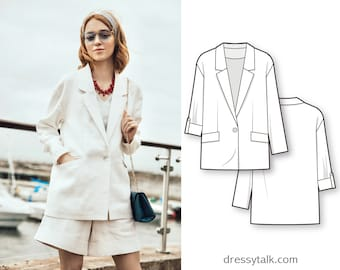 Jacket Sewing Pattern - Womens Blazer Sewing Pattern - Cardigan Sewing Pattern - Clothing Patterns - Modern Sewing Patterns - PDF Patterns