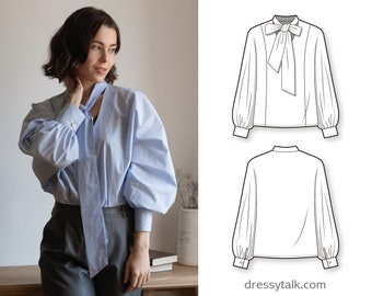 Puff gathered sleeve oversize woven shirt blouse with bow tie collar - PDF sewing pattern for women