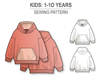 Basic oversize hoodie for boys and girls - PDF sewing pattern for kids - age 1-10 years