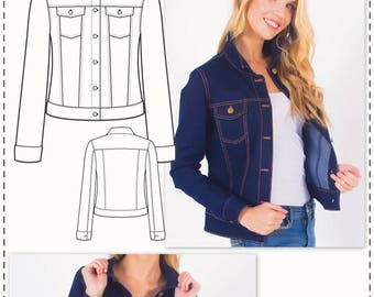 Denim Jacket Pattern - Sewing Patterns - Jean Jacket Pattern - PDF sewing pattern - Fashion Pattern - Sewing Tutorial - Patterns for Women