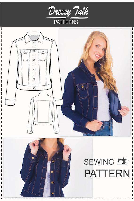 Denim Jacket Pattern Sewing Patterns Jean Jacket Pattern | Etsy