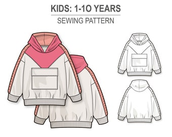 Oversize hoodie for boys and girls with triangle front yoke and flap pocket - PDF sewing pattern for kids - age 1-10 years