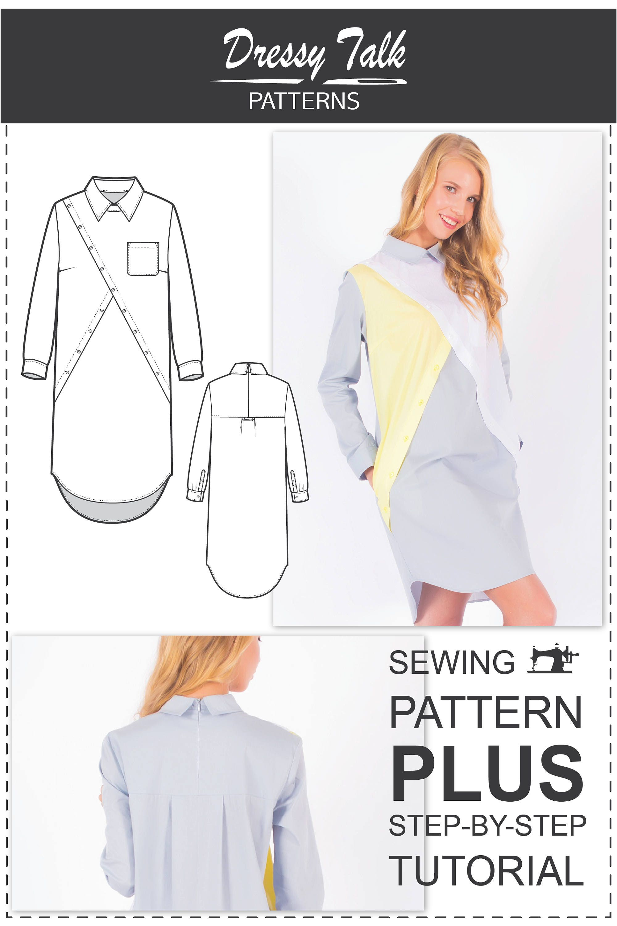 Shirt Dress Pattern Sewing Patterns Dress Patterns For Etsy