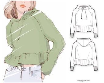 Regular fit raglan sleeve ruffled cropped sweatshirt hoodie - PDF sewing pattern for women