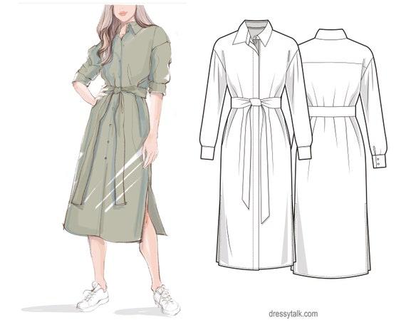 Shirt Dress Pattern PDF Sewing Patterns Long Sleeve Dress | Etsy