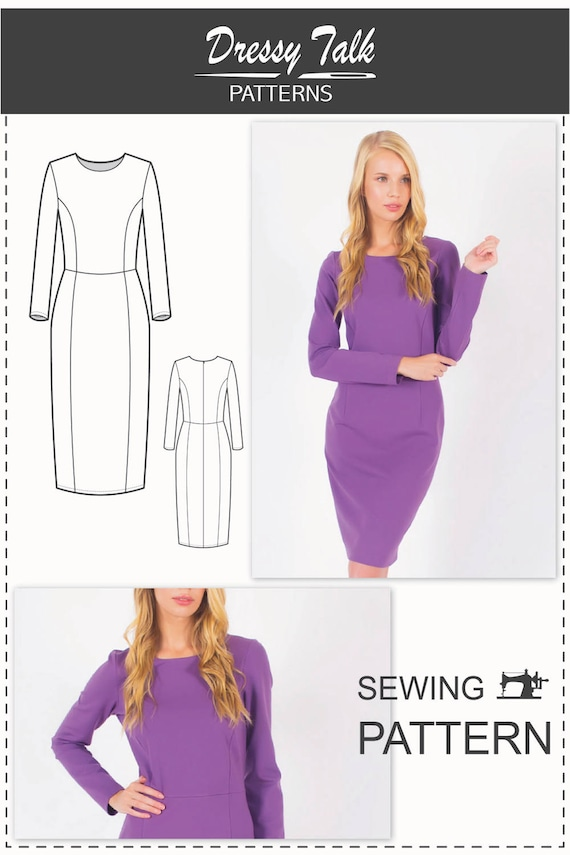 Long Sleeve Dress Pattern Formal Dress Patterns Simple Etsy