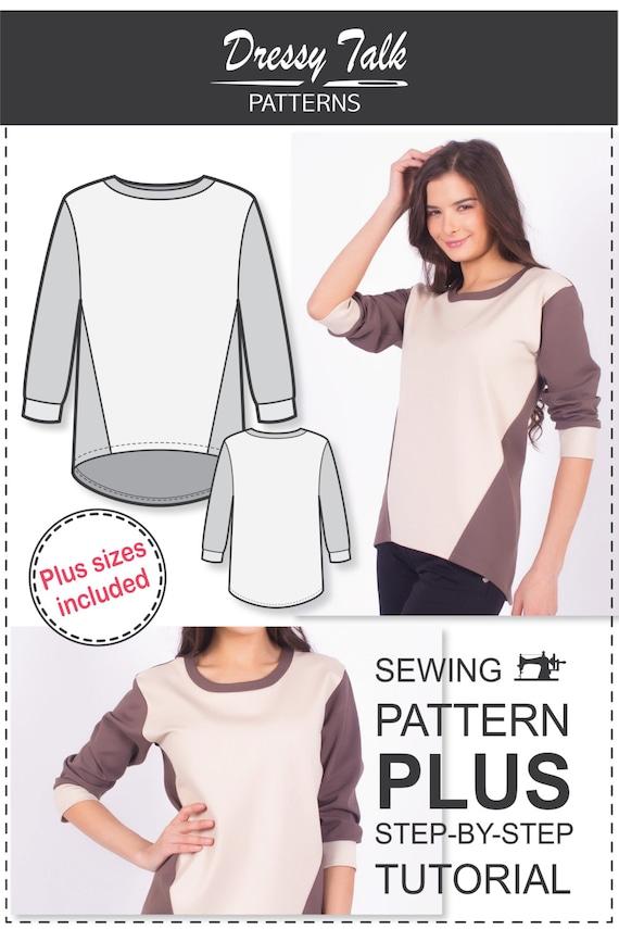 Sweatshirt Pattern Sewing Patterns Plus Size Patterns | Etsy
