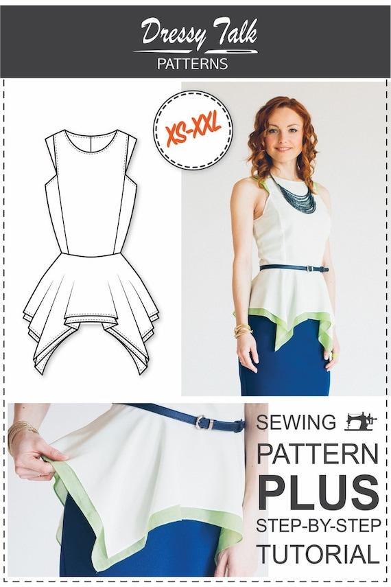 Peplum Top Pattern Blouse Patterns Sewing Tutorials | Etsy