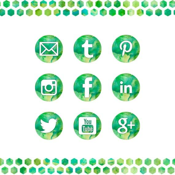 Watercolor Green Social Media Icons Set 3 Sizes Elegant Etsy