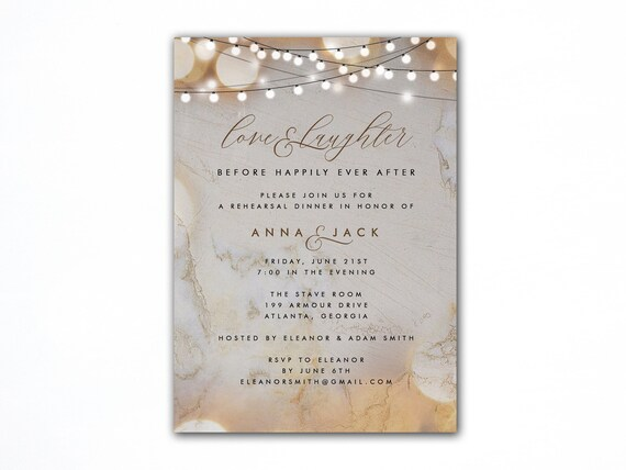 Marble Background Rehearsal Dinner Invitation Marbled Background With String Lights Printed Or Digital Option