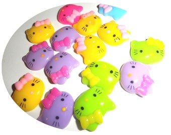 Set of 10 resin cabouchon Cat Head