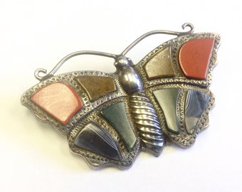Antique, Victorian, Scottish agate and silver butterfly brooch.