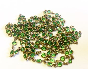Antique, Edwardian, open back, bezel set, green crystal paste, long guard chain necklace.