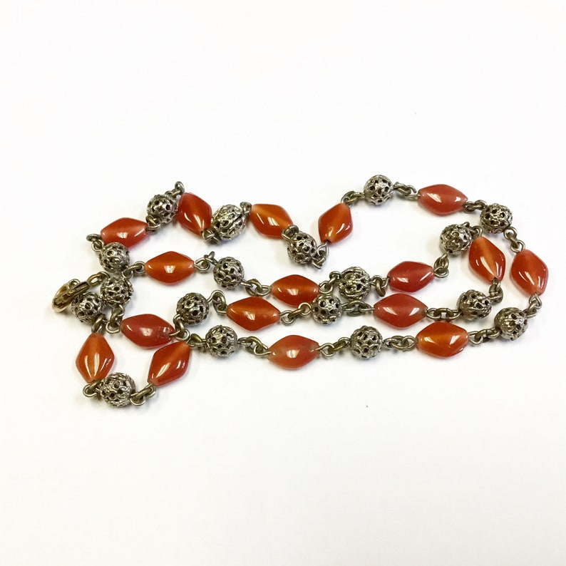Vintage beaded necklace with faux carnelian beads. early 1900s