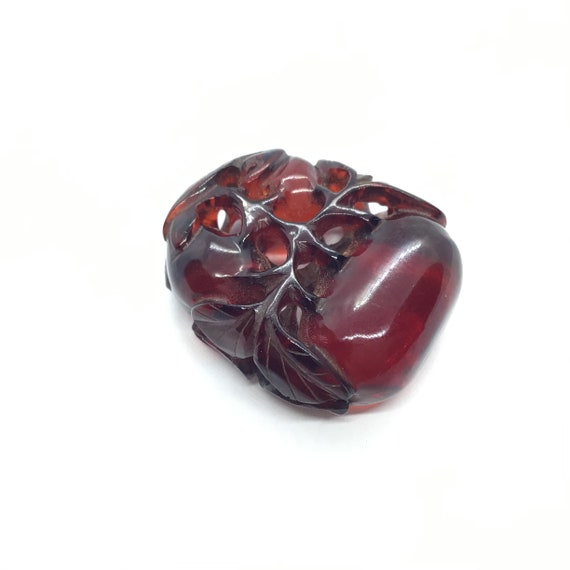 Vintage, cherry amber bakelite, Chinese carved ch… - image 1