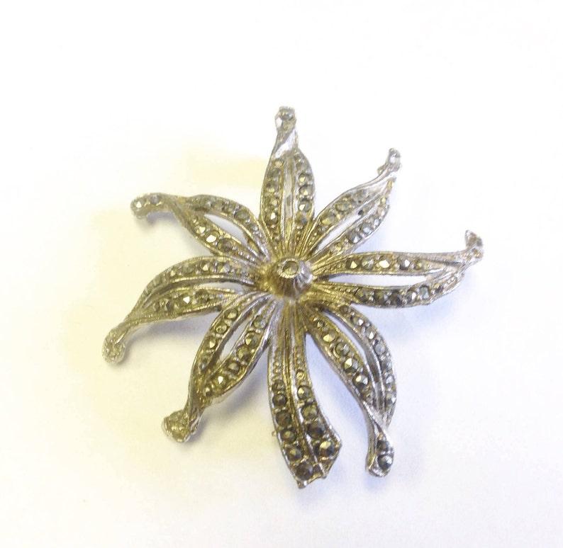 mid century Marcasite flower brooch. Vintage