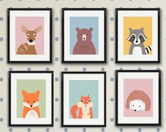 Woodland nursery decor, nursery prints, kids wall art, woodland animal art, set of 6 prints, bear print, fox print, baby room prints