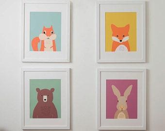 Woodland nursery art print, print set of 4, animal art, fox, bear print, rabbit print, squirrel print, nursery wall decor, 614