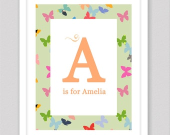 Baby name sign, customised baby letters for wall, letter A, baby name print, nersery art, nersery decor, baby name letters, baby art print